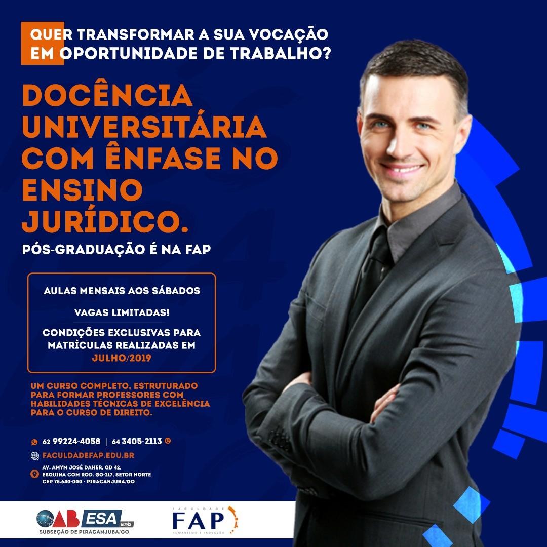 FAP vai oferecer p�s-gradua��o em Doc�ncia Universit�ria e em Direito Desportivo