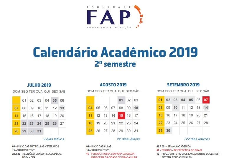 Divulgado Calend�rio Acad�mico do segundo semestre de 2019